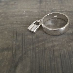92.5 Sterling Silver Lock Charm Band